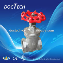 """1/4""""-8"""" CF8 / CF8M, aço inoxidável de 200wog portão válvula BSP/BSPT / operar extremidade roscada com alça, válvula de desconto para óleo e água"""