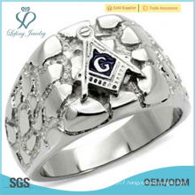 masonic freemason mans silver nugget ring