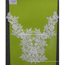 Wunderschöne Elfenbein Spitze Stoff mit Perlen Rose Spitze Stoff für Brautkleid CMC491B