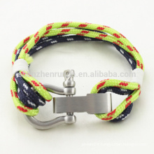 Wholesale Fashion Stainless Steel Shackle Bracelet Nautical Rope Bracelets with Handmade