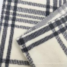 Tecido para roupas de lã polar estampado 100% poliéster xadrez