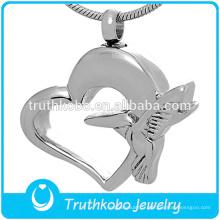 Gros bijoux de crémation en forme de coeur cendres pendentif urne collier
