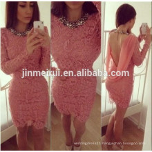 2014 New Arrival Sexy Coral Color Sheath Long Sleeves Short Mini Lace Backless Girls Cheap Cocktail Dress Free Shipping JCD016