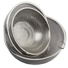 coador redondo do filtro da cesta da malha do kitchenware de aço inoxidável com punho