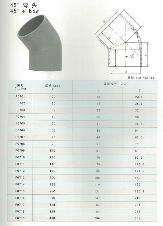 PVC 45degree elbow
