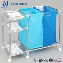 Cesta de lavanderia móvel aço inoxidável Multi-Fuction
