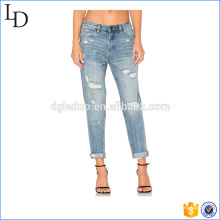 High waist fashionable 2017 denm jeans factory wholesale denim jeans