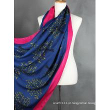 Senhora moda árvore impressa lenço de seda viscose (yky1023-3)