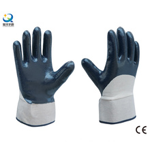 Cotton Jersey Shell Half Coated Nitrile Coated Safety Work Gloves (N6037)