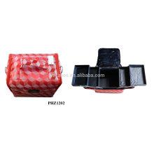 caliente de la venta y la impermeable bolsa de maquillaje 4 bandejas extraíble interior fabricante