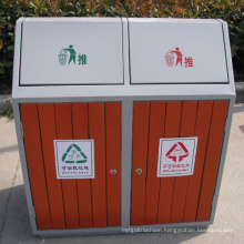 Outdoor Recycling Wooden Steel Street Dustbin (B9450)