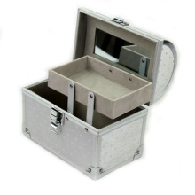 Caja de aluminio de la caja de la belleza del maquillaje cosmético de plata (HX-W3640)