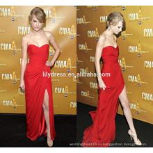 Красный милая декольте разрез стороны Длина пола обычай делать дизайнер длинное вечернее платье RD027 оптовые знаменитости мода