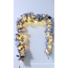 "9' x 16"" Pre-Lit Flocked Aspen Pine Artificial Christmas Garland"