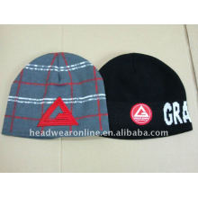 high quality jacquard knitted beanies hats with embroidery logo
