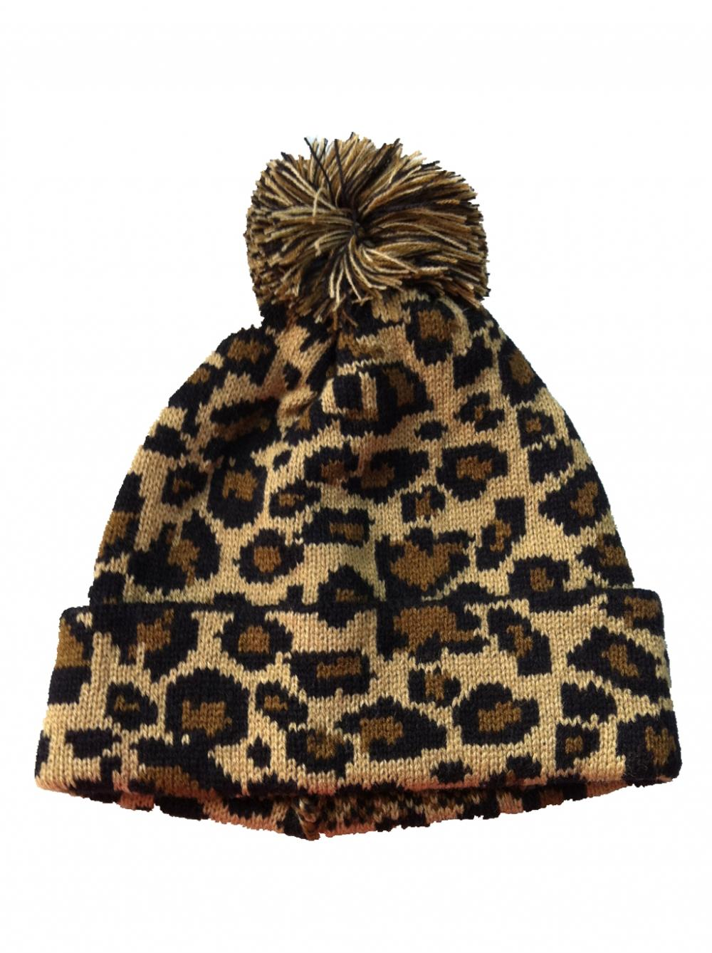 Brown Leopard Knitted Beanie Hat