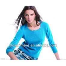 pull col rond tricoté en cachemire bleu clair