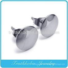 TKB-E0037 Pendientes de botón de acero y tierra de acero inoxidable para hombre