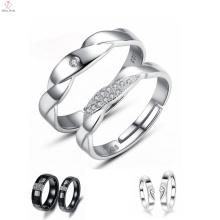 Мужчины И Женщины Алмаз Проложили Черные Керамические Кольца, Пара Платины Покрытием Кольцо
