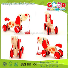 2015New Item Red Mini Set Toys ,Dragging Dog Wooden Toys