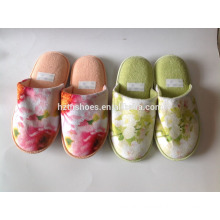 Ladies closed toe velour upper with photo print winter indoor slipper