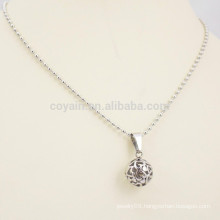 Stainless Steel Bead Chain Necklace With Round Ball Pendant