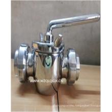 Sanitary Stainless Steel 2 Way Dairy Plug Valve with Union