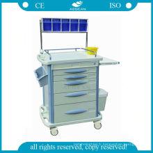 AG-AT007B3 ABS avec cinq tiroirs chariot hospitalier anesthésique trolley