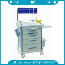 AG-AT007B3 ABS with five drawers hospital cart anaesthetic drug trolley