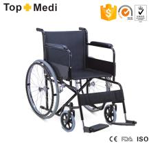 Top Manuai Handicapped Lightweight Steel Wheelchair with Soild Rear Wheel