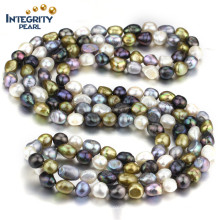 AA 10mm Mixed Color Freshwater Baroque Necklace Costume Pearl Necklace Jewelry