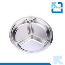 Round Shape Stainless Steel Lunchbox & Fast Food Tray with 3 Dividers