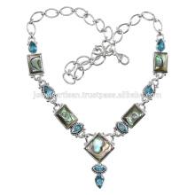 Abalone Shell Y Topacio Azul Gemstone Hecho A Mano 925 Collar De Plata Sólido