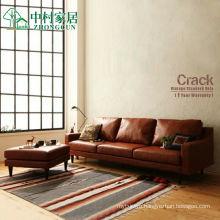 American Retro Leather Living Room Corner Combination Sofa