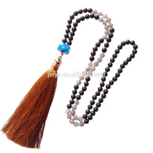 Sundysh Mala Perlen, Großhandel 108 natürlichen Mondstein schwarz Achat Mala Perlenkette, Mala Perlen Quaste Halskette