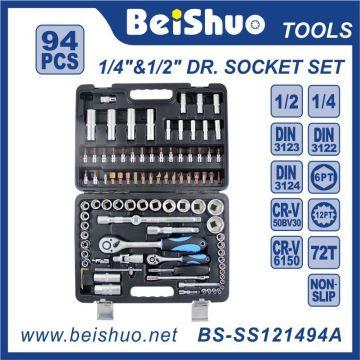 94 PCS 1/4 '' 1 / 2''dr. Cr-V Handwerkzeuge Sockel Set