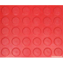Hoja de goma antideslizante roja de la moneda de la moneda del color rojo Hoja de goma redonda del perno prisionero
