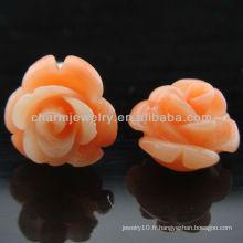 Boucles d'oreilles en forme de rose corail en émeraude Rose Fashion Pink EF-012