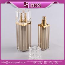 Empty Luxury Square Plastic Cuidados Pessoais Acrílico Cosmetic Airless Pump Bottles 100ml