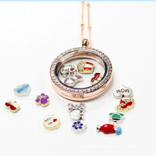 30mm Rose Gold Round Crystal Jewelry Living Magnetic Glass Locket