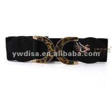 Fashion Look 6cm Preto Elastic Leopard Metal Bukle Mulher Cintos Com Preço de Fábrica BC2233-1