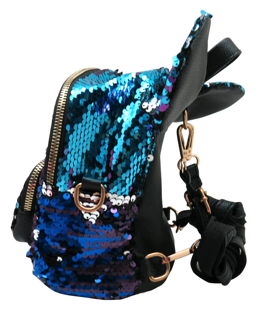 Blue Ears Sequin Backpack 1