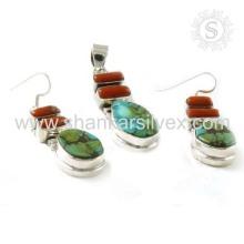 Bijoux en corail et turquoise de charme 925 Silver Set Gemstone Jewelry Jewelry Wholesaler