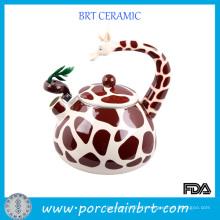 Théière en céramique émaillée en forme de girafe