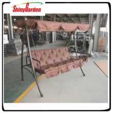3 seat garden steel metal swing chair bed with canopy