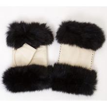 Lady Fashion Fox Fur Fingerless Leather Dress Gloves (YKY5162)