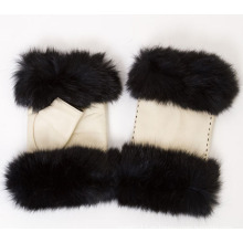 Леди мода Лисий мех без пальцев кожаные перчатки платье (YKY5162)