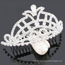 Venta al por mayor cristal de accesorios de cabello tiara plástico barrette