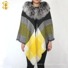 Wolle Schal und Schals mit echten Mongolei Pelz Wolle Schal