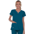 Top scrub da donna con due tasche e collo a lancia